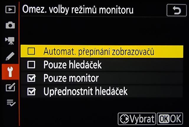 Omezení volby režimů monitoru - Nikon Z6
