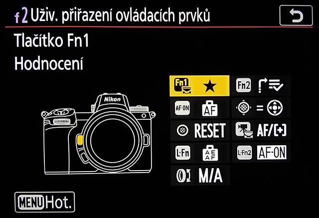 Nastavení ovládacích prvků bezzrcadlovky Nikon Z6